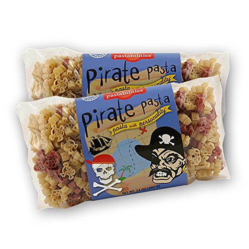 Pastabilities Pirate Pasta, Fun Shaped Pirate Ship Skull & Crossbones Noodles for Kids and Gifts, Non-GMO Natural Wheat Pasta 14 oz (2 Pack)