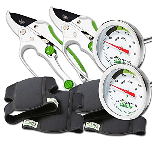 Lowest Price! Cate's Garden 6-Piece Garden Tool Set- 2 Compost Thermometer Premium Stainless Steel, ...