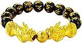 Plztou Black Feng Shui Pulsera de la Riqueza Pixiu/Piyao Amuleto Pulsera Prosperidad con corazón Sutra Gold Beads Atraer Lucky Money Bangle Regalo para Mujeres/Hombres