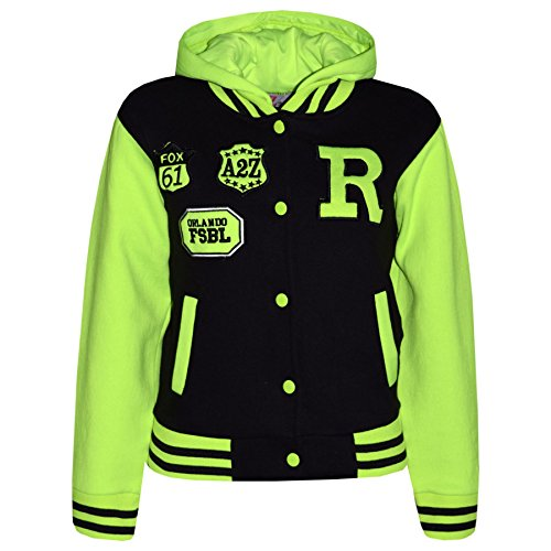 A2Z 4 Kids® Jungen Mädchen Mode Fox NYC Baseball Mit Kapuze Jacke - B.B Black & Neon Green 9-10