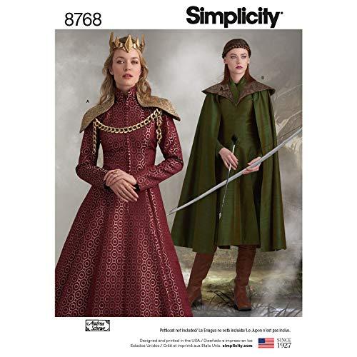 Simplicity 8768 Schnittmuster für Damen für Kostüm, Cosplay, Umhang, Kleid, Größen 42-50