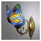 Lámpara de pared estilo Tiffany, lámpara de pared de mariposa artesanal retro vidriera pastoral europea, pasillo dormitorio cafetería bar azul aplique E27