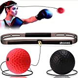 Boxing Reflex Ball, 2 Difficulty Level Boxing Ball with Headband, Softer Than Tennis Ball, Suit for Reaction, Agility, Fight Skill and Hand Eye Coordination Training