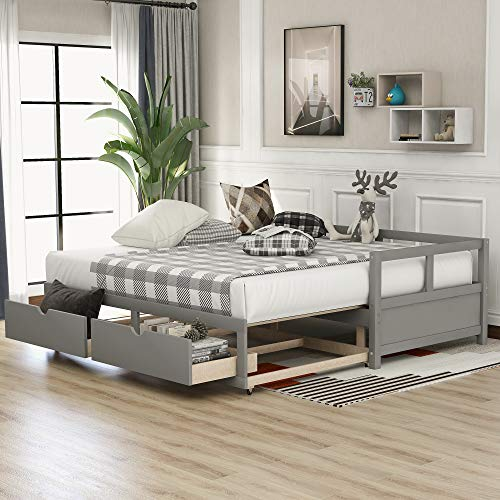 Daybed with Trundle Bed and 2 Storage Drawers, Sofa Bed, 78.2' L x 79' W Extendable Bed Daybed for Bedroom Living Room