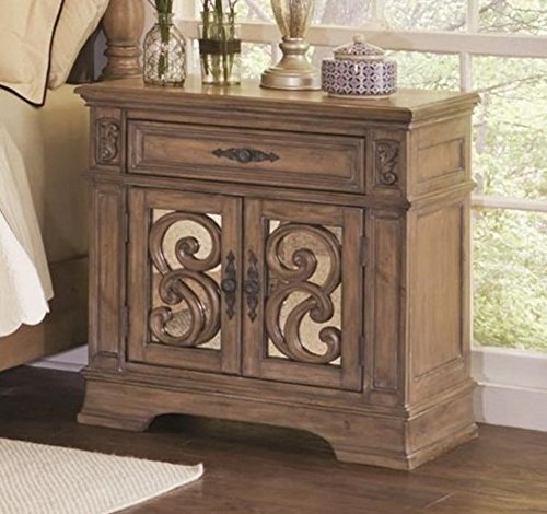 """Coaster 205077-CO Ilana Collection 30"""" Nightstand with 1 Drawer 2 Doors Usb Outlet Antique Brass Handle Hardware Full Extension Glides and Grey Felt Lined Top Drawer, Antique Linen"""