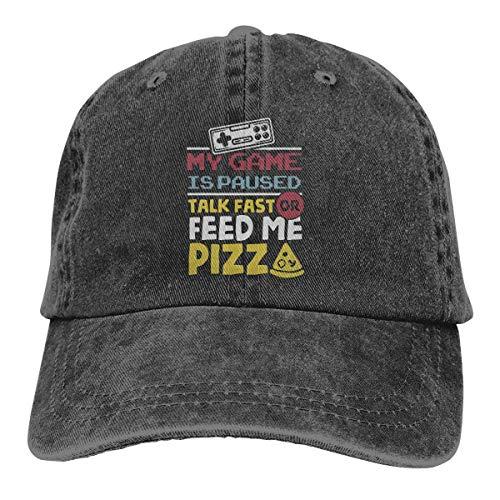 krooe My Game is Paused Talk Fast Feed Me Pizz Unisex Washed Fashion Cowboyhut Jeans-Baseballkappe