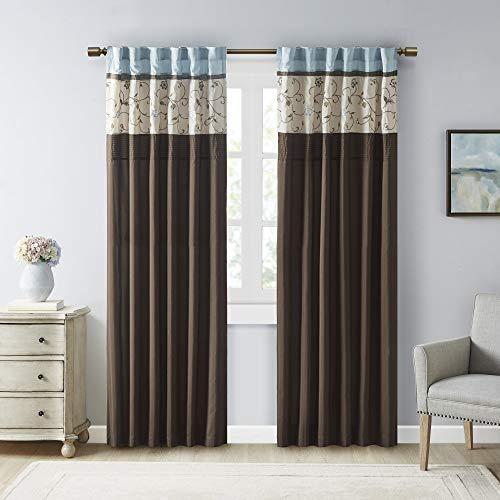 Madison Park Serene Embroidered Light Filtering Treatment Curtain Rod Pocket/Back Tab Single Window Panel Drape for Bedroom Livingroom and Dorm, 50x84, Blue