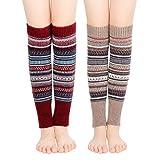 Bearbro 2 Paires Guêtre Femme,Jambières d'Hiver Chaudes Tricotés,Longues Chaussettes Crochet Knit Boot Cover pour Femme et Fille