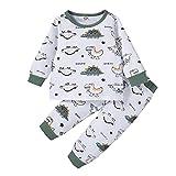 BemeyourBBs Conjunto de pijama de dinosaurio de manga larga con estampado de dinosaurios y pantalones de 2 piezas para niño pequeño y otoño, Verde Blanco, 18 meses