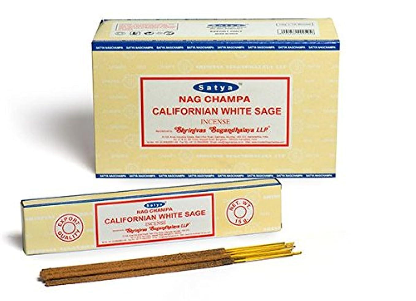 却下する受動的贅沢なSatya Nag Champa カリフォルニアホワイトセージ香スティック Agarbatti 180グラムボックス | 15グラム入り12パック 箱入り | 輸出品質