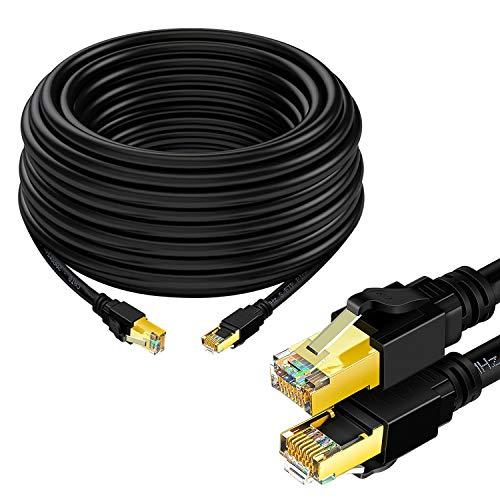 Ethernet Kabel 5m Cat 8 Kabel RJ45 Internet Patchkabel 2000 MHz 40Gbps Hochgeschwindigkeits LAN Kabel Abgeschirmt für Modem, Router, PC, Mac, Laptop, PS2, PS3, PS4, Xbox und Xbox 360 Schwarz