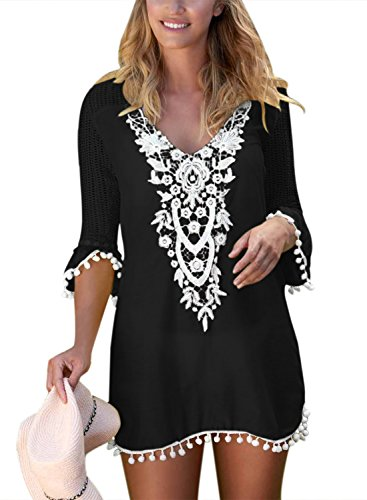 BLENCOT Women's Crochet Chiffon Tassel Swimsuit Bikini Pom Pom Trim Swimwear Beach Cover Up-Black XX-Large