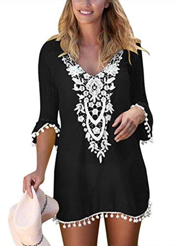 BLENCOT Women's Crochet Chiffon Tassel Swimsuit Bikini Pom Pom Trim Swimwear Beach Cover Up-Black Large