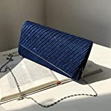 Bolsos Mujer Stripe Hand Small Square Bag Versión De La Cadena Sling Shoulder Bag Tide Evening Bag Blue