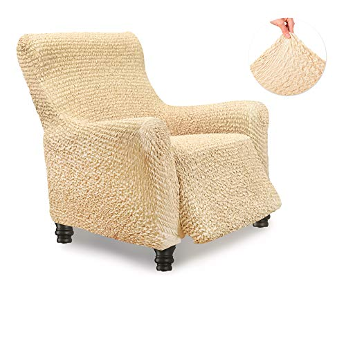 Menotti Sanitiized Lehnstuhl-Bezug – Sesselbezug – weicher Stoffbezug – Flauschige Rückenlehnen-Stretch-Möbelschoner – Mikrofaser-Kollektion (beige, Liegestuhl)