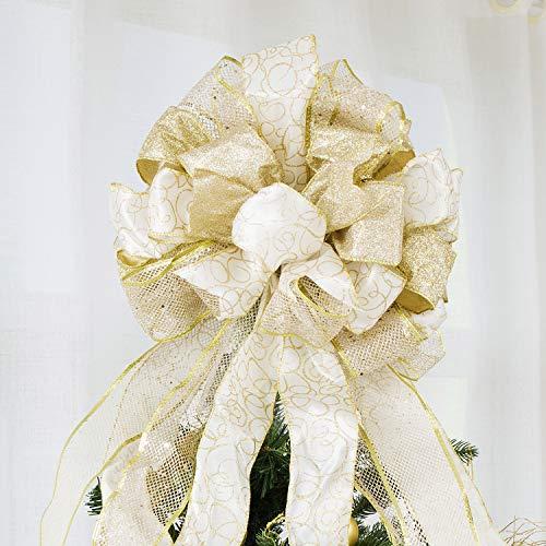 Christmas Tree Topper,Christmas Ornament with Glitter Satin Mesh Streamer,for Your Christmas Decor & Gift(Gold)