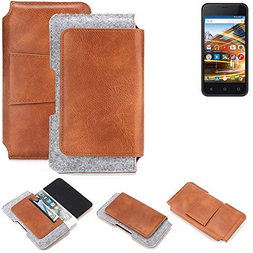 K-S-Trade® Schutz Hülle Für Archos 40 Neon Gürteltasche Gürtel Tasche Schutzhülle Handy Smartphone Tasche Handyhülle PU + Filz, Braun (1x)