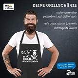 MoonWorks Grill-Schürze für Männer mit Spruch Leg das Rezept Weg ich Bin Koch und kein Apotheker Baumwoll-Schürze Küchenschürze schwarz Unisize - 3