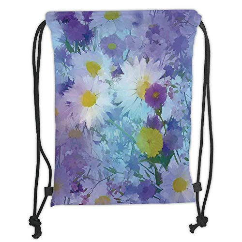 FFLISHD Gym Bag Printed Drawstring Sack Backpacks Bags,Watercolor Flower Home Decor,Several Kind of Flower Bed in Sun Summer Aquarelle Technique Design,Multi Soft Satin