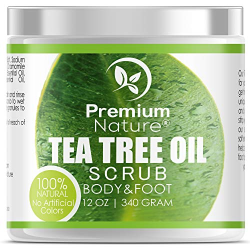 Antifungal Tea Tree Body & Foot Scrub - 12 oz 100% Natural Antibacterial...