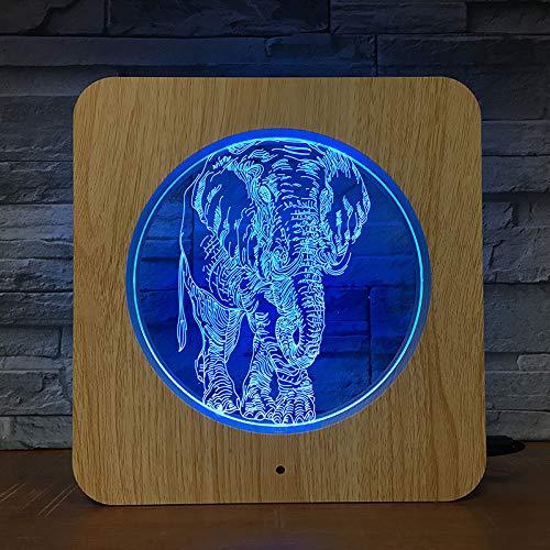 Jiushixw 3D acryl nachtlampje met afstandsbediening, kleur tafellamp, olifant, dier, kunststof, cadeau, plafondlamp en ondersteunende tafellamp