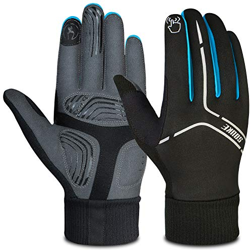 Souke Sports Winter Cycling Gloves Men Women, Touch Screen Padded Bike Glove Water Resistant Windproof Warm Anti-Slip for Running, Biking, Workout