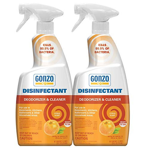 Gonzo Disinfectant Spray & Multipurpose Cleaner - 24 Ounce (2 Pack) Citrus - Odor Eliminator, Disinfectant, Flood Fire Water Damage Restoration