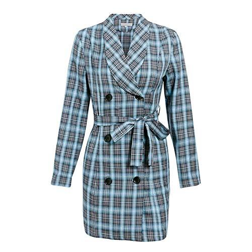 XianYuu Vrouwen Mode Plaid Blauw Blazer Jurk Lange Mouw Mini Jurk Vrouwelijke Zakelijke Sashes Blazer