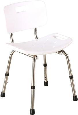 LLCY お風呂椅子 携帯用バススツールバスルームアルミ合金の高さ調節可能なシャワースツールホワイト シャワーチェア