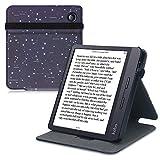 kwmobile Carcasa Compatible con Kobo Libra H2O - Funda para e-Book de Cuero sintético - Constelaciones Blanco/Azul Oscuro
