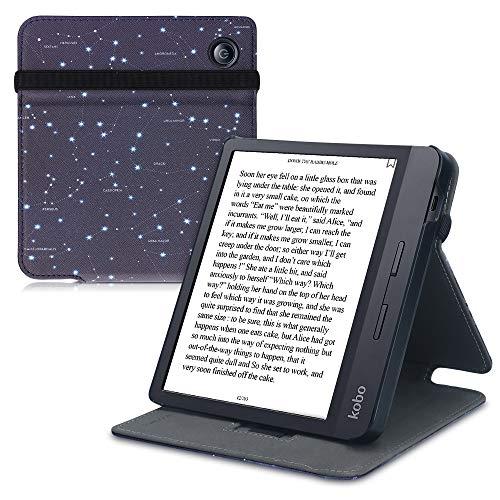 kwmobile Custodia Verticale e-Reader Compatibile con Kobo Libra H2O - con Fascia e leggìo - Flip Case in Pelle PU - Mappa Stellare Bianco/Blu Scuro