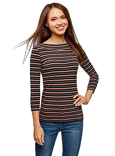 oodji Collection Damen T-Shirt mit 3/4-Arm, Mehrfarbig, DE 40 / EU 42 / L