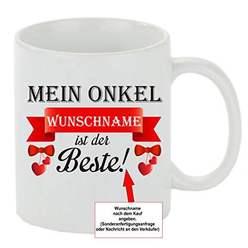 Creativ Deluxe Kaffeebecher Mein Onkel Wunschname ist der Beste! Kaffeetasse mit Motiv, Bedruckte Tasse mit Sprüchen oder Bildern - auch individuelle Gestaltung