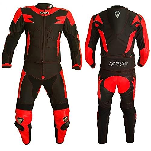 BI ESSE Tuta da MOTO per adulto in pelle e tessuto, divisibile in 2 pezzi giacca e pantalone, regolabile, completa di protezioni CE (Nero/Rosso, M)