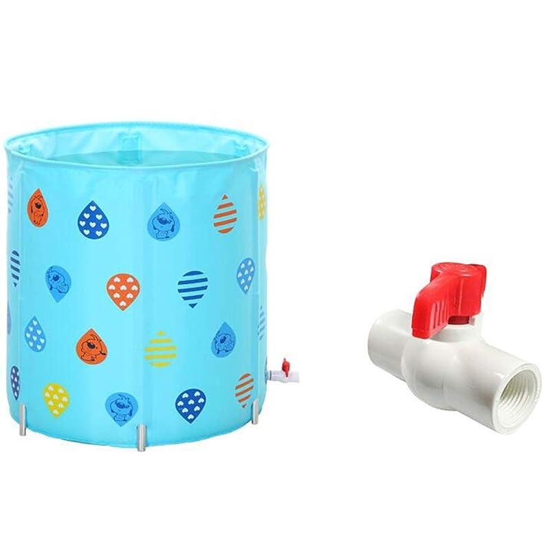 軽蔑保存する引き受けるポータブルバスタブ 利用可能な肥厚70x70cm折りたたみ風呂バレルアダルトバスタブ折り畳み式のバスタブ三色 シャワーで使用できます (色 : 青, サイズ : 70x70cm)
