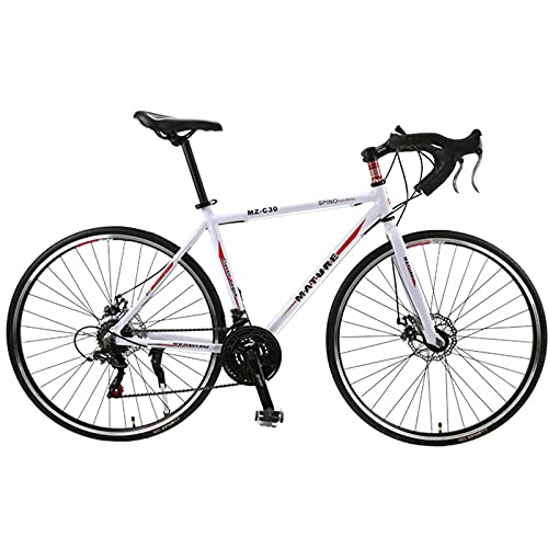 PBTRM Bicicleta Carretera 26,8 Pulgadas 700C 30 Velocidades Aleación Aluminio Velocidad Variable Freno Disco Doble Bicicleta Carretera Ciclismo para Hombres Mujeres,White Red