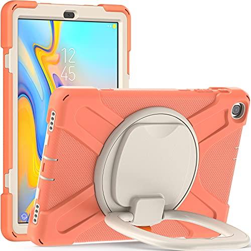 BlinkCat Funda para Samsung Galaxy Tab A 10.1 2019 / SM-T510 SM-T515 SM-T517, Resistente3 Capa Híbrido Protectora Cubierta con Soporte Giratorio 360 / Correa para el Hombro - Naranja Coral