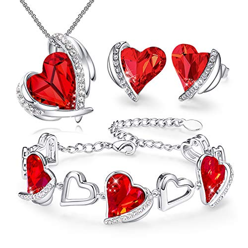 CDE Rhodium Plated Women Jewelry Set Heart Love Crystals Birthday Gifts Necklace and Earrings Bracelets