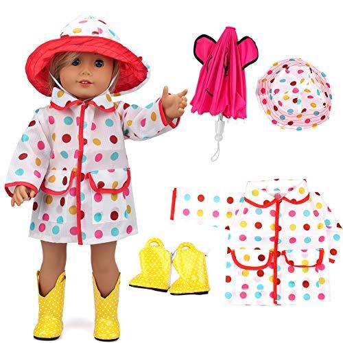 vamei Puppenkleidung Puppen Zubehör mit Regenmantel Regenschirm Regenstiefel für 35-46cm Babypuppe Bekleidungsset für 18 Zoll Puppen Weihnachten Geschenk