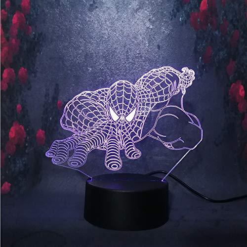Solo 1 pieza Bombilla de carga USB Superhéroe 3D LED Lámpara de escritorio de luz nocturna Decoración para el hogar Regalo de vacaciones de Navidad Niño Niño Juguetes de cumpleaños