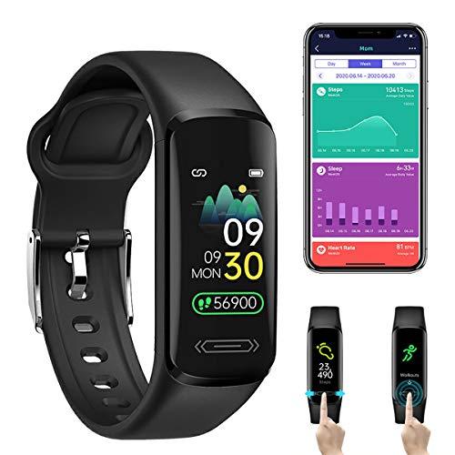Smartwatch,Monitor Actividad Física con Temperatura Corporal Ritmo Cardiaco, Rastreador Presión Arterial, Monitor Salud Sueño Impermeable,Contador Calorías Reloj Podómetro para Hombres, Mujeres