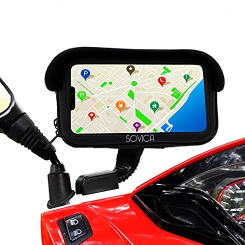 Soporte movil Moto Scooter Motocicleta Impermeable con Cargador Carga rapida Funda Protectora...