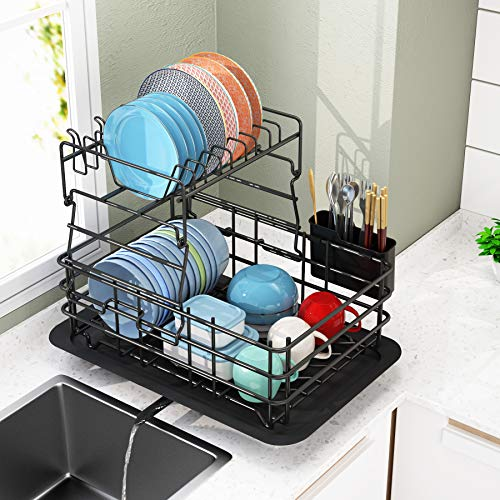 Dish Drying Rack 1Easylife 2-Tier Dish Drainer for Kitchen Rustproof Dish Rack and Drainboard Set with Removable Utensil Holder and Adjustable Swivel Spout Countertop Dry Rack Black