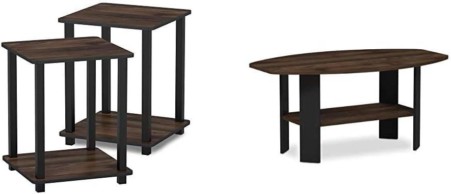 FURINNO Simplistic End Table Columbia Simple Des El Paso Mall Classic Walnut Black