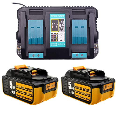 2 Pieces of 18V 5000mAh Li-Ion Battery + 4A Fast Charger Replacement for makita,Compatible with Makita Construction site Radio DMR110 Lawn Trimmer DUR181Z Drill DHP482Z Vacuum Cleaner DCL182Z