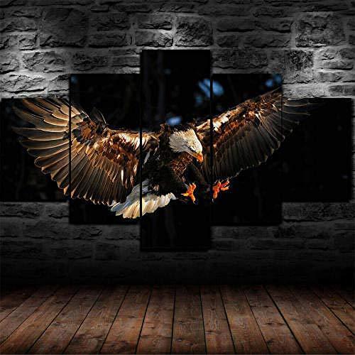 Cuadro Sobre Lienzo 5 Piezas Impresión En Lienzo Ancho: 150Cm, Altura: 100Cm Listo Para Colgar-Flying Eagle Raptor Ave Cielo En Un Marco