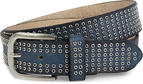styleBREAKER cinturón de remaches con ojetes «all over», cinturón de remaches «vintage», acortable, unisex 03010078, tamaño:90cm, color:Azul jean (Ropa)