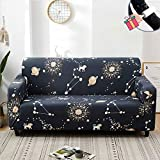 Chickwin Sofa Slipcovers Settee Couch Sets Home Decor, Flower Plant Print Washable Removable Stretch Fabric Elastic Pet Protector Chair Slipcovers for Sofas Leather (Black Constellation,4 Seater)
