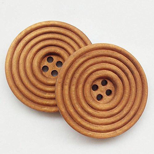 chenkou Craft 30piezas 40mm 11/2pulgadas redondo marrón botones de madera 4agujeros Craft botón de costura
