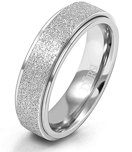 DURSI Spinner Ring for Women Men Fashion Stainless Steel Fidget Ring for Anxiety Ring (Silver 6mm, 8)
